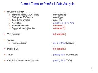 Current Tasks for PrimEx-II Data Analysis