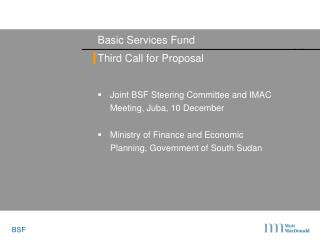 Basic Services Fund Third Call for Proposal