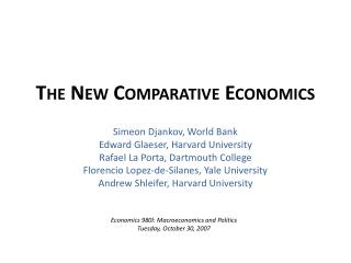 The New Comparative Economics