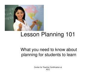 Lesson Planning 101