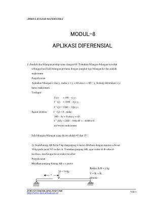 ,MODUL KULIAH MATEMATIK-1 MODUL-8 APLIKASI DIFERENSIAL