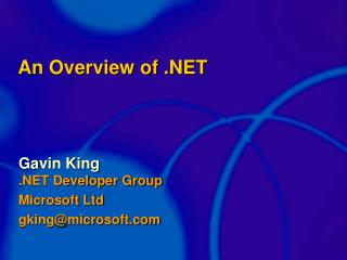 An Overview of .NET