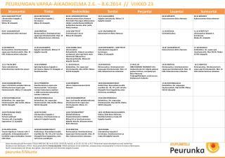 PEURUNGAN VAPAA-AIKAOHJELMA 2.6. – 8.6.2014  //  VIIKKO 23