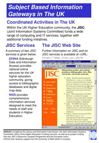 Subject Based Information Gateways in The UK