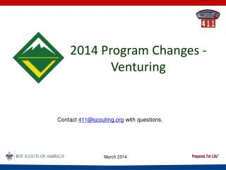 2014 Program Changes - Venturing