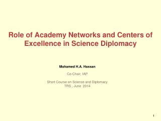 Role of Academy Networks and Centers of Excellence in Science Diplomacy