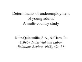 Determinants of underemployment  of young adults: A multi-country study
