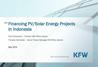 Financing PV/Solar Energy Projects in Indonesia