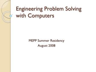 Engineering Problem Solving with Computers