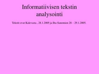 Informatiivisen tekstin analysointi