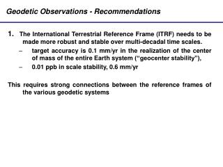 Geodetic Observations - Recommendations