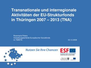 Transnationale und interregionale Aktivit ten der EU-Strukturfonds  in Th ringen 2007   2013 TNA
