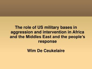 US bases in ME and Africa