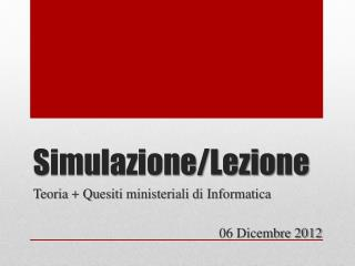 Simulazione/Lezione