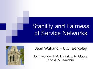 Stability and Fairness of Service Networks