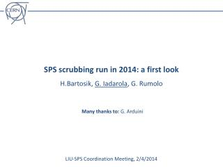 SPS scrubbing run in 2014: a first look