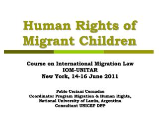Human Rights of Migrant Children