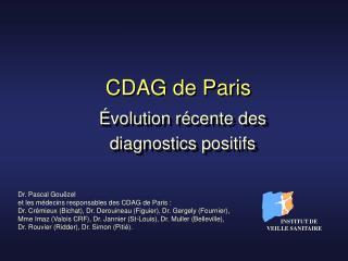 Évolution récente des  diagnostics positifs
