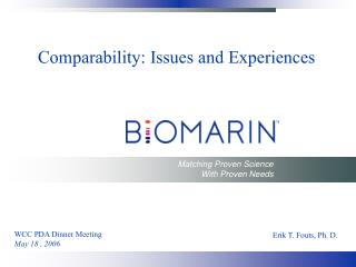 Comparability: Issues and Experiences