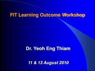 FIT  Learning Outcome  Workshop