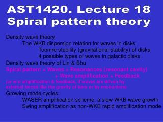 Density wave theory  	The WKB dispersion relation for waves in disks