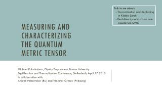 Measuring  and characterizing  the quantum metric tensor