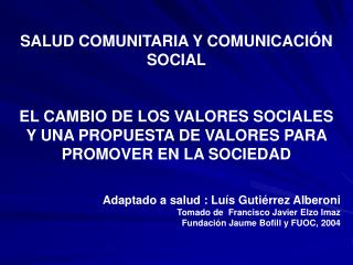 SALUD COMUNITARIA Y COMUNICACIÓN SOCIAL
