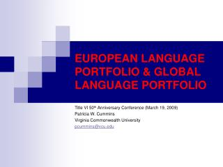 EUROPEAN LANGUAGE PORTFOLIO  GLOBAL LANGUAGE PORTFOLIO