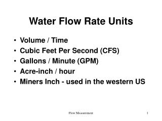 Water Flow Rate Units