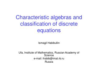 Characteristic algebras and classification of discrete equations