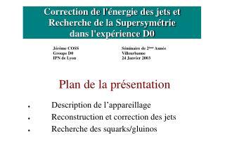 Correction de l' énergie des jets et Recherche de la Supersymétrie dans l'expérience D0