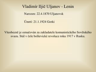 Vladimír Iljič Uljanov - Lenin