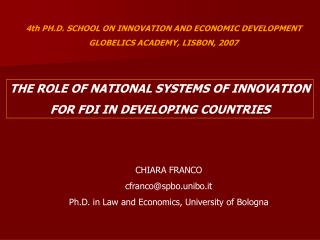 4th PH.D. SCHOOL ON INNOVATION AND ECONOMIC DEVELOPMENT GLOBELICS ACADEMY, LISBON, 2007