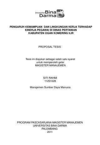 PROGRAM PASCASARJANA MAGISTER MANAJEMEN UNIVERSITAS BINA DARMA PALEMBANG  2011