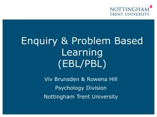 Enquiry & Problem Based Learning (EBL/PBL)