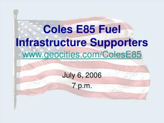 Coles E85 Fuel  Infrastructure Supporters geocities/ColesE85