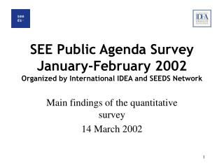 SEE Public Agenda Survey January-February 2002 Organized by International IDEA and SEEDS Network
