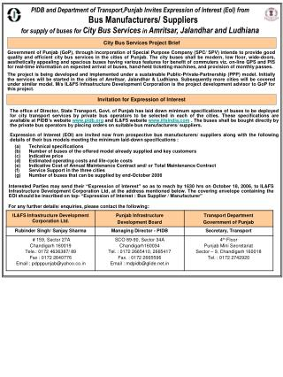 PIDB and Department of Transport,Punjab Invites  Expression of Interest (EoI) from