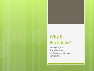 Why E-Portfolios?