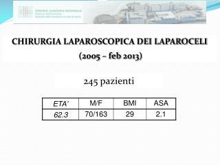 CHIRURGIA LAPAROSCOPICA DEI LAPAROCELI  (2005 –  feb  2013)