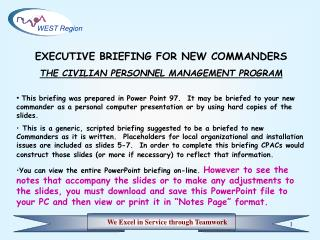 EXECUTIVE BRIEFING FOR NEW COMMANDERS THE CIVILIAN PERSONNEL MANAGEMENT PROGRAM