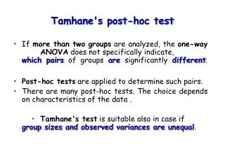 Tamhanes post-hoc test