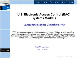 U.S. Electronic Access Control (EAC) Systems Markets Consolidation Defines Competitive Field