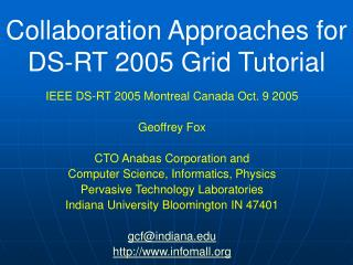 Collaboration Approaches for  DS-RT 2005 Grid Tutorial