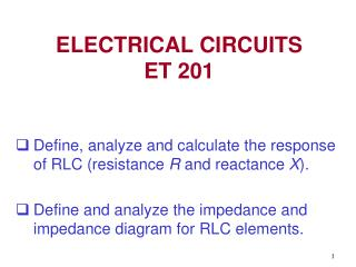 ELECTRICAL CIRCUITS  ET 201