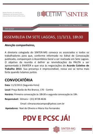 ASSEMBLEIA EM SETE LAGOAS, 11/3/13, 18h30