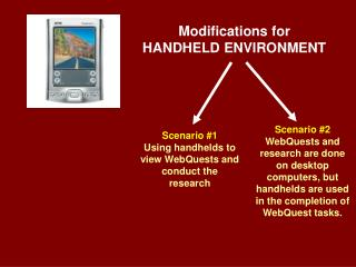 Modifications for HANDHELD ENVIRONMENT