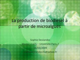 La production de biodiesel à partir de microalgues