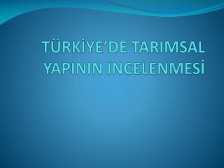 TÜRKİY E'DE TARIMSAL YAPININ  İNCELENMESİ