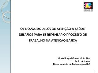 Maria Raquel Gomes Maia Pires Profa. Adjunta/ Departamento de Enfermagem/UnB